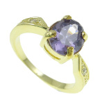 Purple CZ Faceted Stone Rhinestone Gold Tone Ring Size 7.5