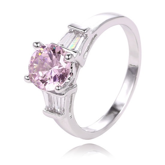 Platinum Plated Silver Tone Round Pink & Clear CZ Cocktail Ring