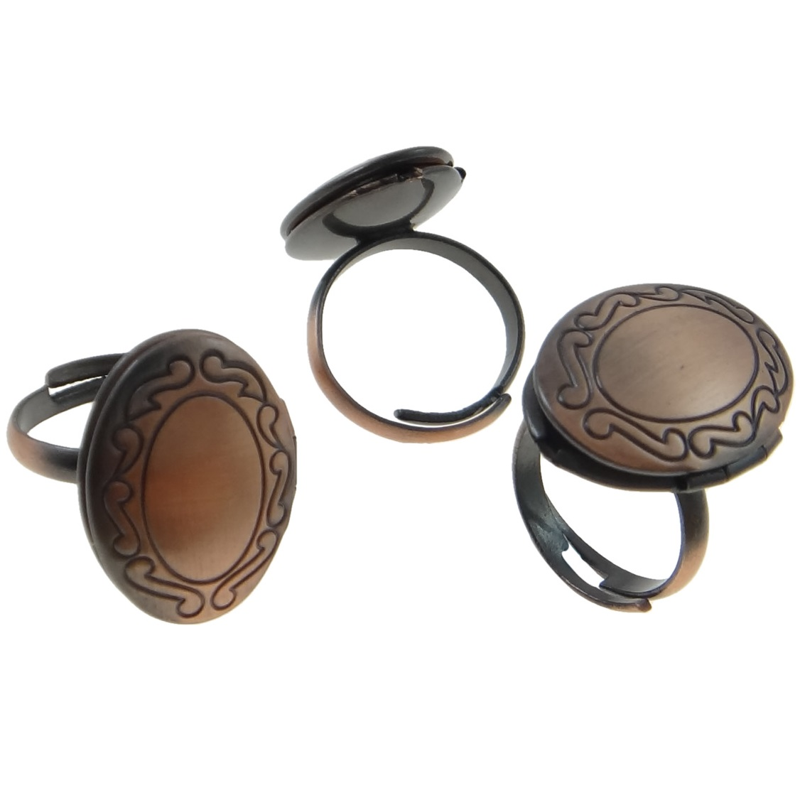 Copper Tone Inscribed Swirl Adjustable Locket Ring