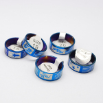 Mixed Engraved Stainless Steel Blue Stripe Rings