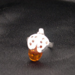 Artist-Crafted Figural Bumble Bee Sterling Silver & Amber Ring