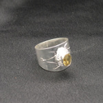 Artist-Crafted Sterling Silver & Citrine Reticulated Ring
