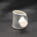 Artist-Crafted Adjustable Sterling Silver & Shell Cab Inlay Ring