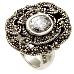 Sterling Silver Filigree Marcasite & Clear CZ Ring