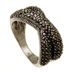 Art Deco Sterling Silver Marcasite Crossed Bands Ring