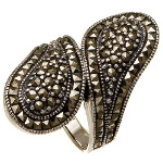 Sterling Silver Spoon Style Marcasite Cluster Ring