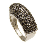 Art Deco Sterling Silver Marcasite Cluster Band Ring