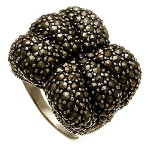 Large Sterling Silver Marcasite Cluster Cocktail Ring