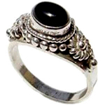 Sterling Silver & Onyx Cabochon Ring