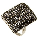 Art Deco Sterling Silver Marcasite Rectangular Ring