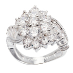 Sterling Silver & Faceted White CZ Stone Cocktail Ring ~ Smalls