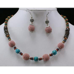 Boho Dyed Pumice Lava Wood & Turquoise Bead Necklace Earring Set