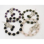 Genuine Gemstone Silver Spacer Stretch Bracelet & Earrings Set