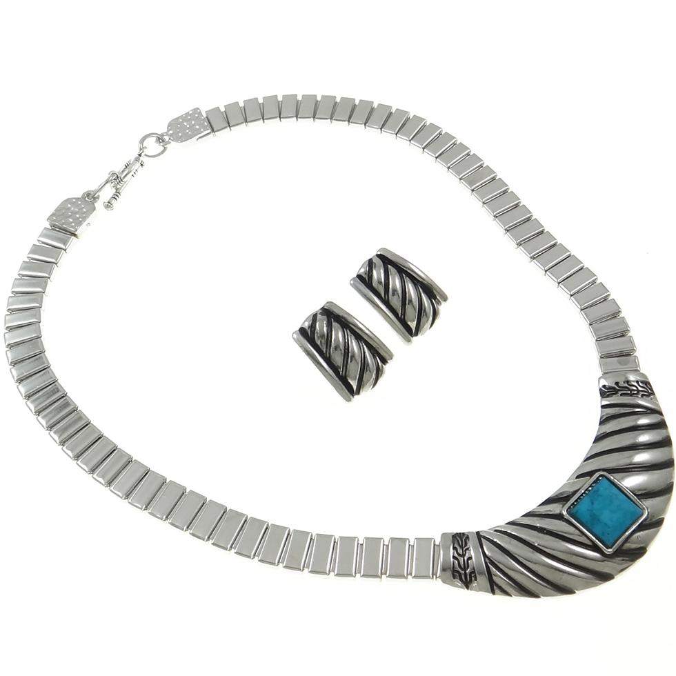 Modern Silver Tone Turquoise Cab Necklace & Earrings Set