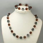 Retro 1960s Mod Hematite & Faceted Crystal Bracelet Necklace Set
