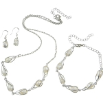 Silver Tone Freshwater Pearl Necklace Bracelets & Earrings Set