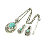 Turquoise Gemstone Silver Tone Rhinestone Necklace Earrings Set