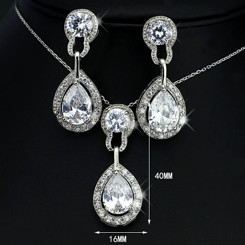 Quality Silver Tone CZ Rhinestone Necklace Earring Set ~ White