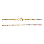 "Sterling Silver Tri-Color Gold Copper Chain - Popcorn 18"" 1.2mm"