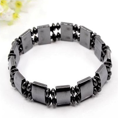 Magnetic Hematite Rectangle Bead Stretch Bracelet