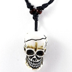 Adjustable Cotton Wax Cord Necklace White Resin Skull Pendant