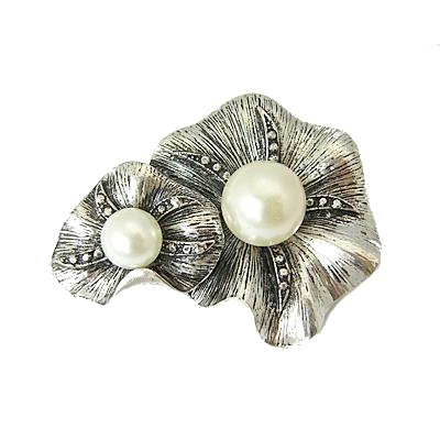 Arts & Crafts Style Pearl Beaded Double Flower Blossom Brooch