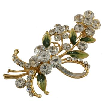 Enamel Gold Tone Clear White Crystal Flower Blossom Brooch