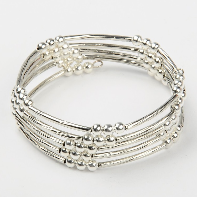Silver Tone Bead & Twisted Tube Wrap Bracelet