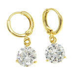 18K Gold Plate 7mm White CZ Stone Bling Dangle Earrings