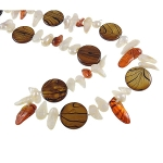 Freshwater Pearl & Striped Shell Bead Necklace Chestnut & Orange