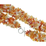 Genuine Gemstone Strung Chip Necklace ~ Red Agate