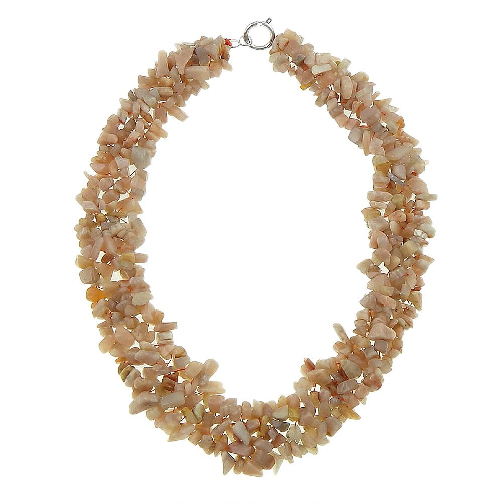 Genuine Gemstone Strung Chip Necklace ~ Sunstone