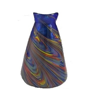 Angle Vase in Blue Rainbow