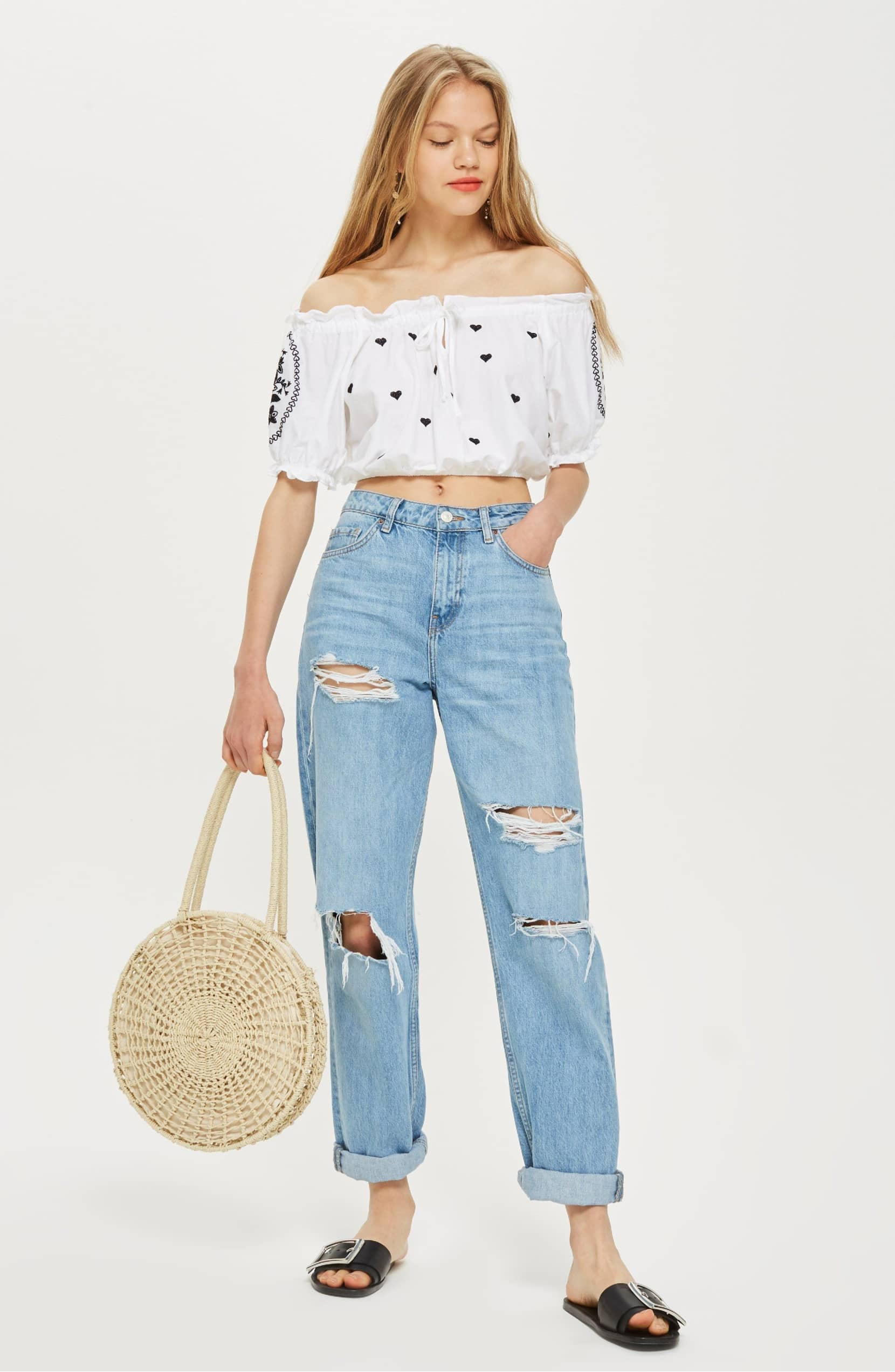 Size XS Topshop Gypsy Embroidered Crop Top Fit 0