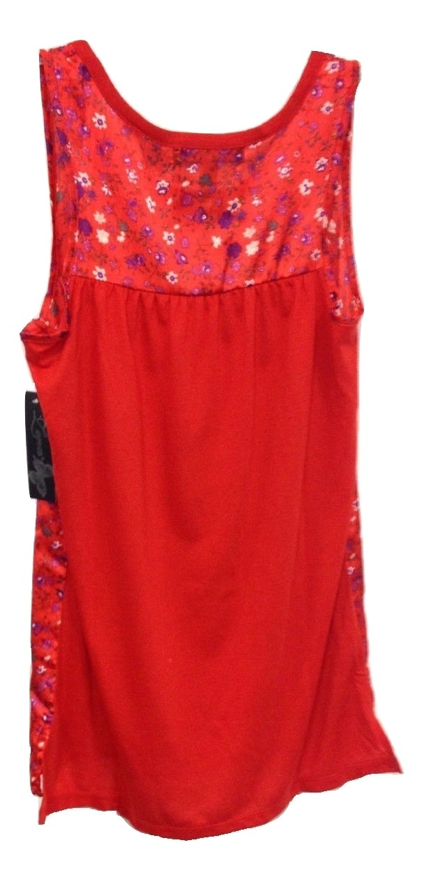 Size S Zena Floral Chintz Sleeveless Tank Top in Red