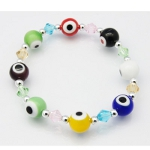 Evil Eye & Faceted Crystal Art Glass Stretch Bracelet