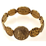 Antique Roman Coins Solid Brass High Relief Stretch Bracelet