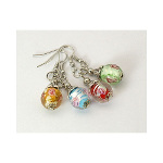 Mixed Tibetan Silver Cased Floral Art Glass Bead Dangle Earrings