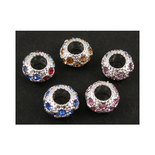 Mixed European Bracelet Bead Spacers Rhinestone Accents