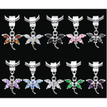 Mixed Silver Tone Dragonfly Charm Pendants with Acrylic Cabs