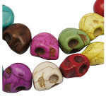 Strand of 32 Faux Turquoise Halloween Skull Beads