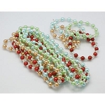 Glass Pearl Necklace & Bracelet Set