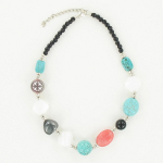NKL-144c Turquoise & Glass Bead Adjustable Necklace