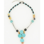 NKL-144d Turquoise & Gemstone Bead Adjustable Pendant Necklace