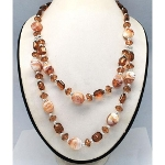 Two Strand Mottled Glass & Faceted Acryclic Bead Necklace
