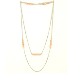 Silver Tone Pink Faceted Crystal Bead Endless Chain Necklace