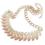 Boutique Gold Tone Art Deco Pink White Resin Cab Necklace