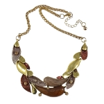 Arts & Crafts Enamel & Rhinestone Accent Brass Leaves Necklace