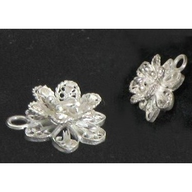 Solid Sterling Silver Lost Wax Cast Flower Blossom Charm Pendant