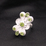 Artist-Crafted Sterling Silver Cocktail Ring ~ Green Peridot